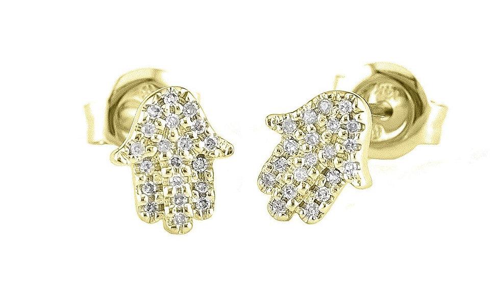 14k Yellow Gold Diamond Hamsa Hand Stud Earrings