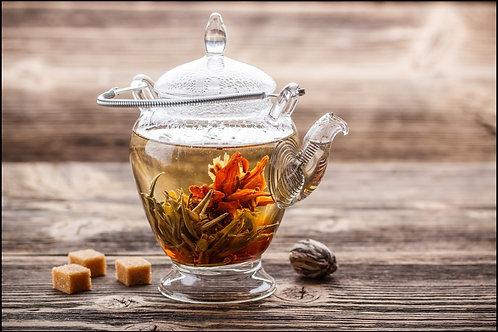 Tian Shen Green Tea with Blooming Jasmine Flowers Tin Box 2.12 oz (60g)