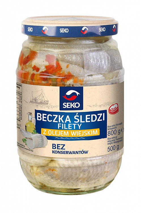 Seko Herring Fillets in Oil (Silety Sledz z Olejem Wiejskim) 28 oz (800g)