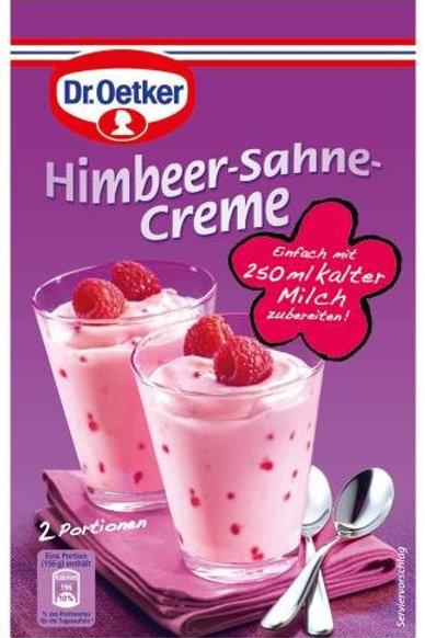 Dr.Oetker Himbeer Sahne Creme (Raspberry Cream) 2 oz. (59g)
