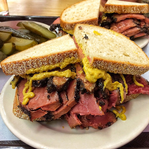 Large Hot Pastrami on a Marble Rye Sandwich
