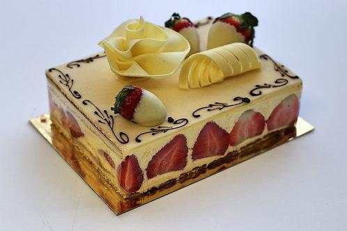Fraisier Cake - 1/8 sheet (serves 8)