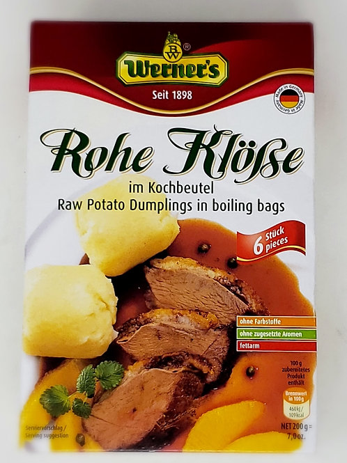 Werner's Raw Potato Dumplings (Rohe Klösse) in Boiling Bags 7 oz (200g)