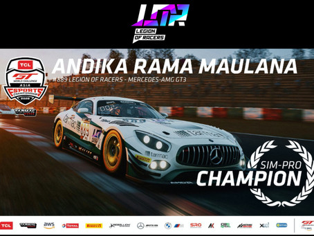 LEGION OF RACERS ATHLETE ANDIKA RAMA LIFTS 2020 TCL GT WORLD CHALLENGE ASIA SIM-PRO CROWN
