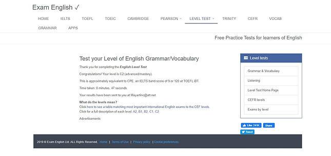 GrammarEnglish Test score Amy Koch Johns