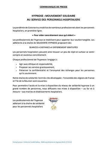 COMMUNIQUE DE PRESSE DU 23 mars 2020