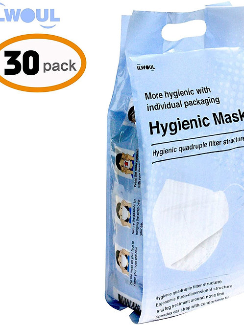 30 pk ILWOUL Hygienic 4D Filter Protective Face Mask