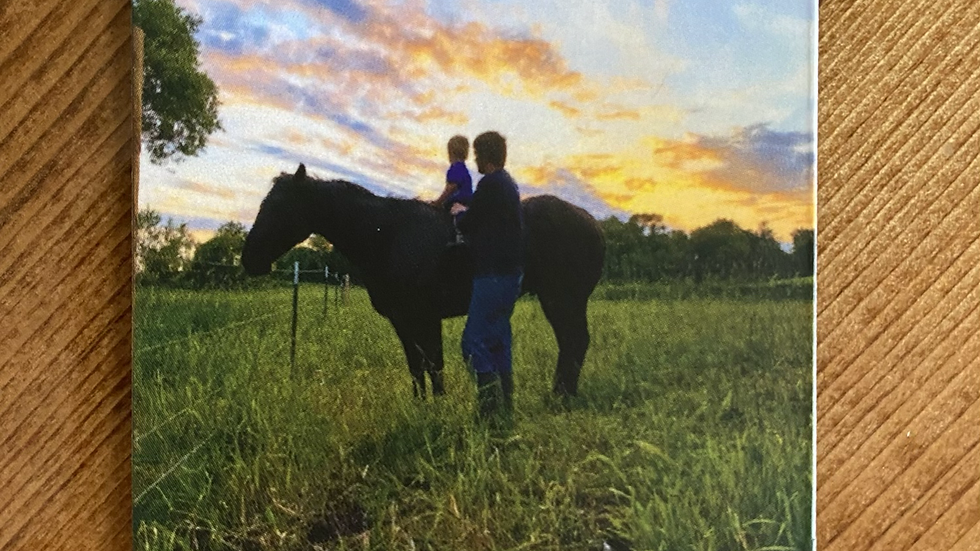Father, Son, and Horse at Sunset Magnet