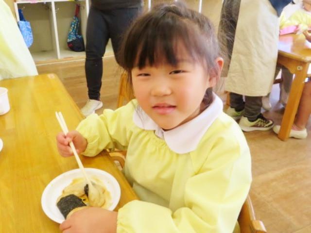 郡山市 片平町 片平学園 片平幼稚園 幼稚園 お餅 餅屋 食育 きなこ 海苔 箸