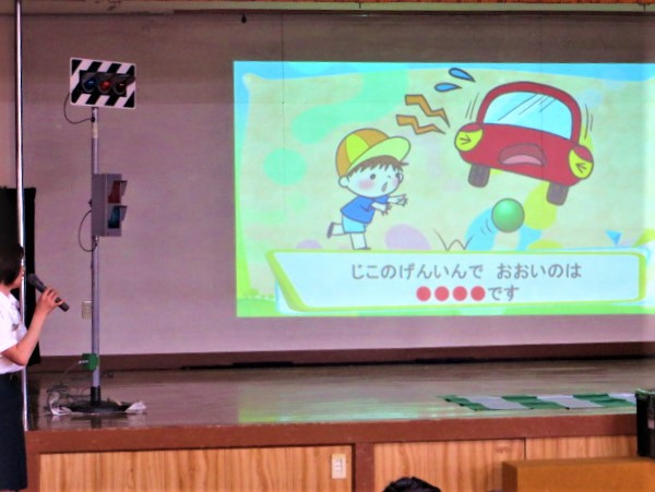 園児 郡山市 片平 幼稚園 交通安全 教室 ホール プロジェクター クイズ 飛び出し注意