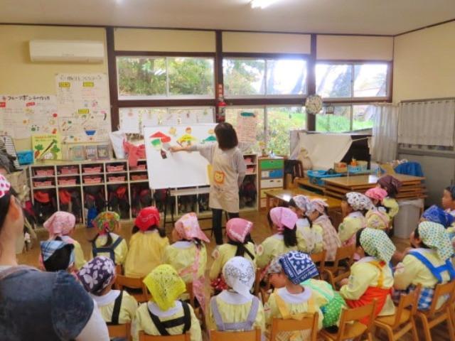 郡山市 片平町 片平学園 片平幼稚園 幼稚園 収穫祭 親子 説明 食育 お話