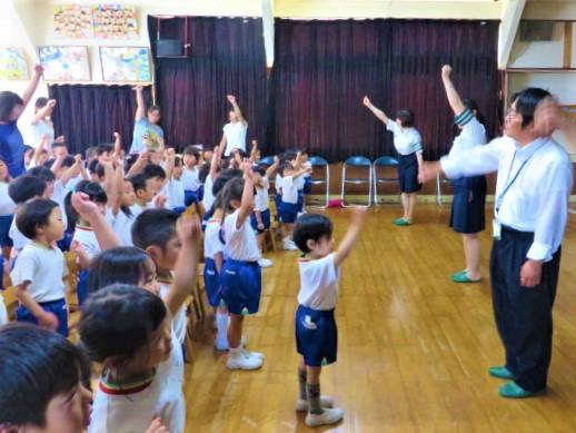 園児 郡山市 片平 幼稚園 交通安全 教室 ホール ダンス