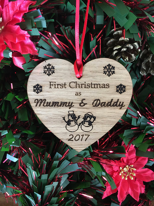 First Christmas Mummy Daddy Heart