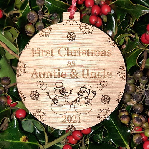 Bauble First Christmas Auntie & Uncle