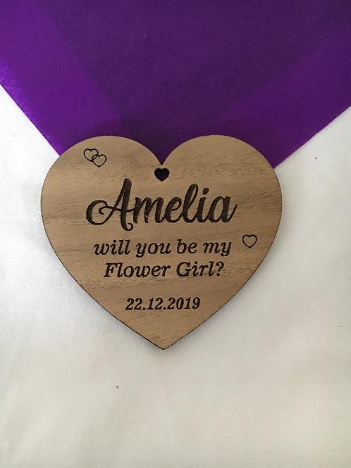 Flower Girl Personalised Wood Heart Gift