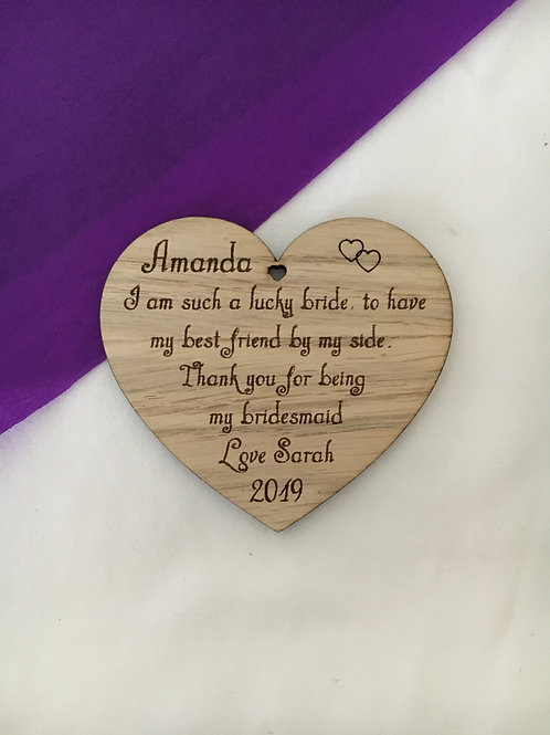 Bridesmaid Quote Personalised Heart Gift