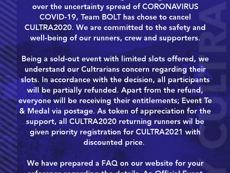 CULTRA2020 CANCELLATION FAQ