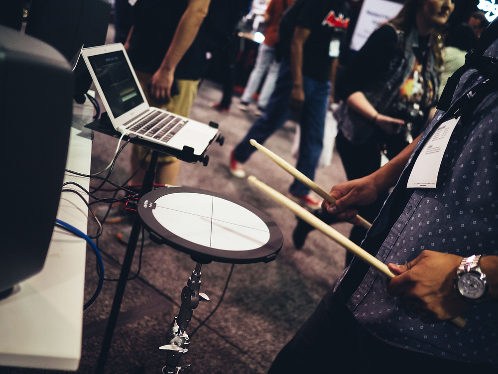electronic drum kit at conference