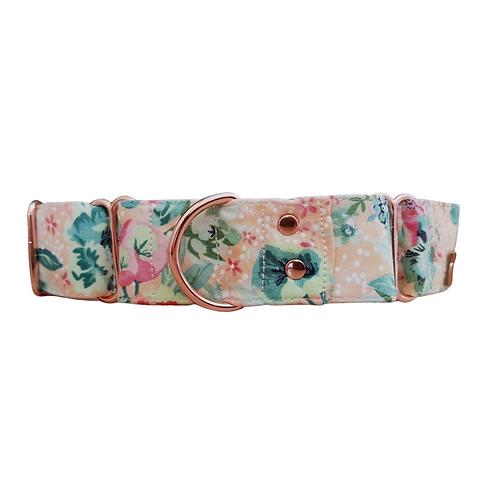 Floral peach martingale dog collar