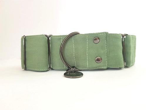 Green lagoon linen, martingale dog collar