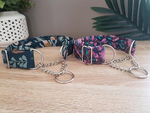 Navy Australian native chain martingale collar