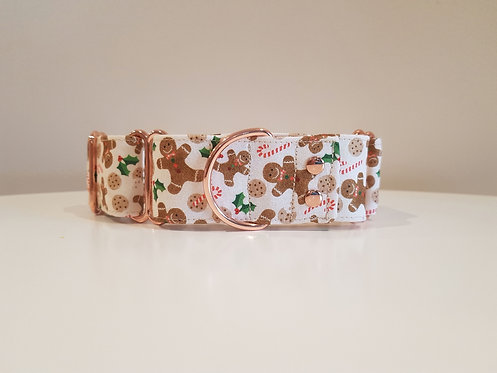 Gingerbread Man Christmas martingale dog collar
