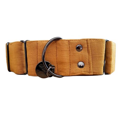 Brown linen martingale dog collar