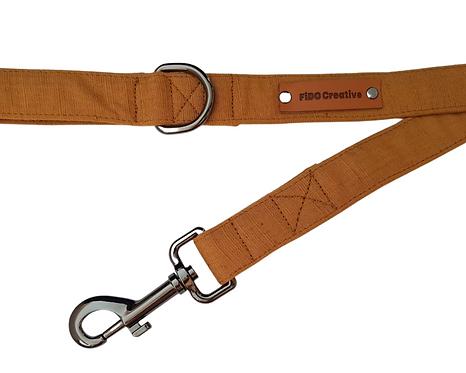 Brown mustard linen dog leash, lead