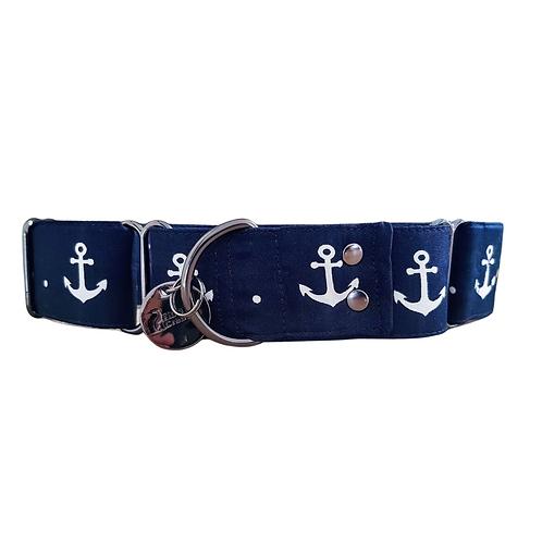 Nautical blue anchor martingale collar