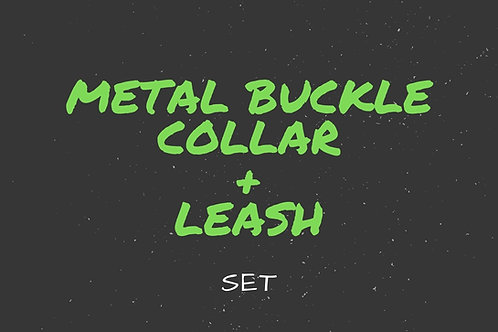Buckle dog collar and leash set, combo