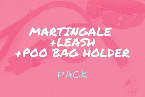 Martingale dog collar, leash and poo bag holder set, combo