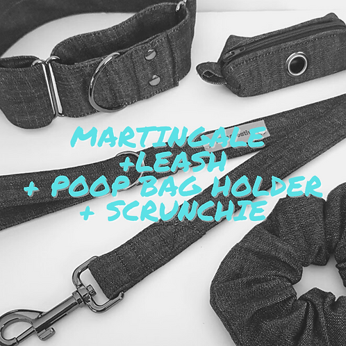 Martingale dog collar, leash, scrunchie and poo bag holder set, combo