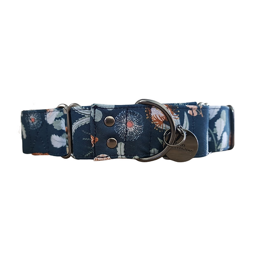 Native flower navy martingale dog collar