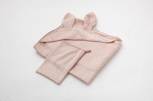 Asciugamano neonato + guanto Rosa