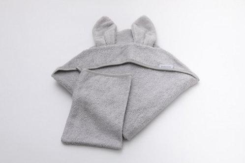 Asciugamano neonato + guanto Grigio