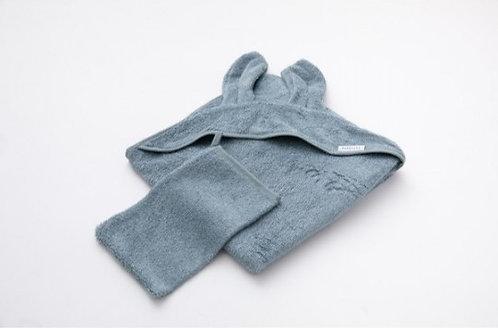 Asciugamano neonato + guanto Blu
