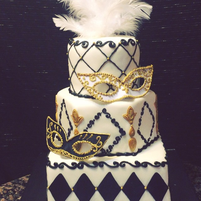 Instagram - 3 tier Mardi Gras Party Cake. Black and Gold. Www.specialtysweetc
