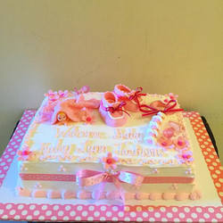 It's a girl pink and white Baby Shower Cake.  Www.Specialtysweetc