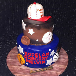 Two-tiered All-Star sports Baby Shower Cake. Www.Specialtysweetc