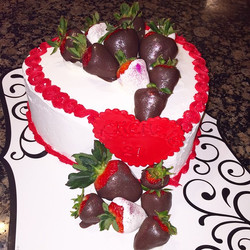 Instagram - Happy Valentine Birthday cake with chocolate covered strawberries. Www.specialtysweetc