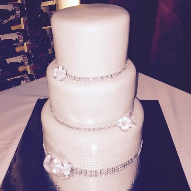 3 tiered White Diamond Wedding cake