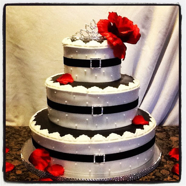 Black and white bling belted 3 tiered cake with red rosé