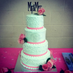 4 tier iced wedding cake