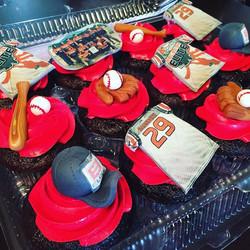 Baseball designed cupcakes. Www.Specialtysweetc
