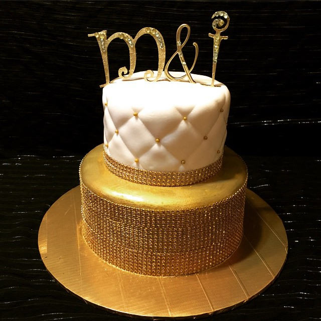 Instagram - White and Gold 2 tiered bling cake. Www.specialtysweetc