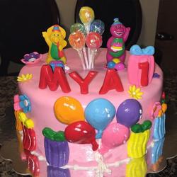 Barney and friends first birthday cake.  Www.Specialtysweetc