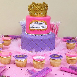 Two-tiered pink and purple princess cake. Www.Specialtysweetc