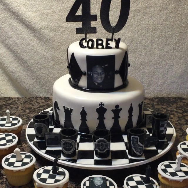 Instagram - 2 tiered black and white Chess cake. Www,specialtysweetc