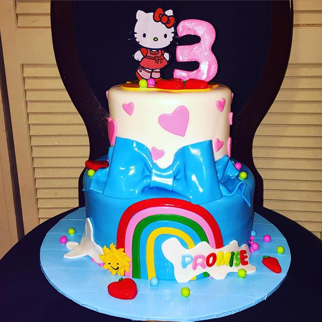 Hello Kitty 2 tiered cake. Www.Specialtysweetc