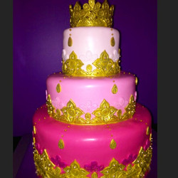 Fuchsia and gold wedding cake. Indian inspired design.